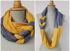 DIY scarf from - Put Up Your Dukes: braided scarf tutorial Shirt Diy, Scarf Shirt, Shirt Scarves, Big Scarves, Tee Shirt, Fall Scarves, Upcycling T Shirts, Look Fashion, Diy Fashion