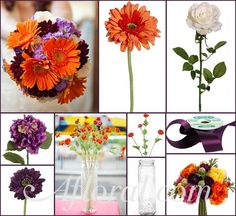 #orange wedding #purple and orange wedding #gerbera daisy wedding #afloral http://blog.afloral.com/daily-scoop/purple-orange-wedding-flowers-lenas-inspiration-board/#.UgkLzpKsiSo