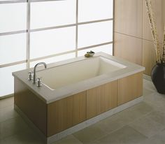 Buy the Kohler White Direct. Shop for the Kohler White Tea-For-Two Drop In/Undermount Cast Iron Soaking Tub with Reversible Drain and Overflow and save. Bathroom Renos, Bathroom Interior, Small Bathroom, Master Bathroom, Japanese Bathtub, Japanese Soaking Tubs, Tub Shower Combo, Shower Tub, Bathtubs For Sale