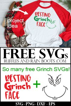These free Grinch SVGs are the perfect way to get anyone into the Christmas spirit. From Resting Grinch face to cookies, grab these free Christmas SVGs now. Grinch Christmas, Christmas Shirts, Christmas Crafts, Christmas Ornaments, Christmas Carol, Xmas, Christmas Decorations, Christmas Vinyl, Christmas Activities