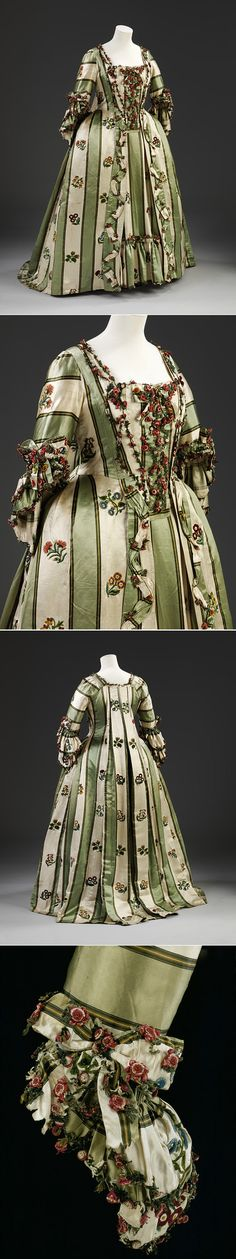 woman's sacque-back gown, Britain / Victoria & Albert Museum 18th Century Dress, 18th Century Costume, 18th Century Clothing, 18th Century Fashion, 19th Century, Vintage Dresses, Vintage Outfits, Vintage Fashion, Historical Costume