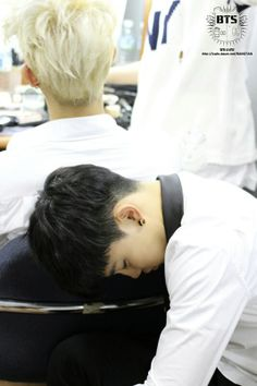 Oh, Jiminnie. Why must you be so cute while you are asleep? Note: Rap Monster's hair is gorgeous.