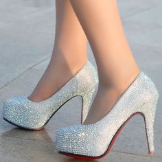 Free shipping 2014 women wedding shoes crystal high heel shoes platforms silver rhinestone women's pumps