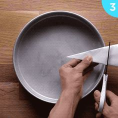 Use this hack to line a circular baking pan:
