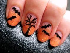 Spooky bats halloween nail art