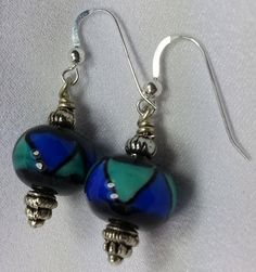 Turquoise and Sapphire Glass Bead Earrings on Sterling Silver Earring Hooks. $9.99, via Etsy.