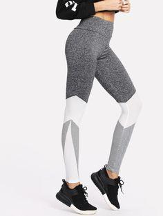 617b0db26990e Wide Waistband Cut And Sew LeggingsFor Women-romwe Workout Leggings