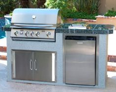 Urban Islands 304 Stainless Steel Island grill with Taranto Gray Granite Tile Top Granite Tile, Gray Granite, Modular Outdoor Kitchens, Urban Island, Outdoor Living, Outdoor Decor, Back Patio, Kitchen Island, Grilling