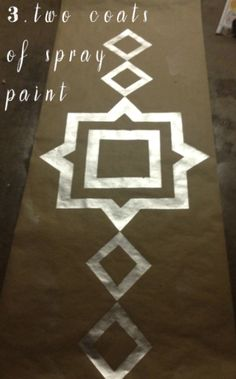 delight by design: DIY {Metallic Geometric Kraft Runner} Use this idea to add a metallic design to Kraft paper floor! No need to tear small pieces either; lay in strips cut from roll. Easier to do, no patchwork look. : )