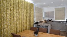 Beautiful wave headed curtains and roman blinds for a kitchen in Longcross Wave Curtains, Roman Blinds, Divider, Kitchen, Room, Furniture, Beautiful, Home Decor, Bedroom