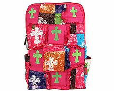 SALE! Rag Quilted Patchwork Stone Wash Cross Backpack #CPP9001-HPINK