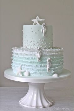 Pastel Blue Frills  Silver Sea Horse Cake