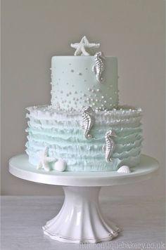 Pastel Blue Frills & Silver Sea Horse Cake