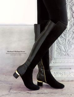 Michael Michael Kors- Alaysia embossed python leather and suede boot in black. 5-11, $348. #holtsmag