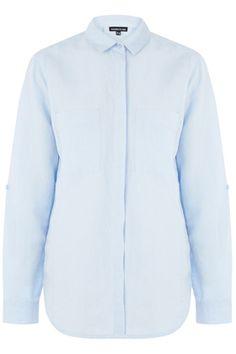 All   Blue Cotton linen shirt   Warehouse