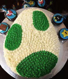 Chocolate cake filling with and decorated with vanilla buttercream Super Mario Birthday, Mario Birthday Party, Super Mario Party, 6th Birthday Cakes, Boy Birthday, Birthday Ideas, Chocolate Filling For Cake, Cake Chocolate, Yoshi
