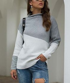 Another great find on Light Gray & White Color Block Mock Neck Sweater - Women Cold Weather Fashion, Asymmetrical Design, Long Sleeve Turtleneck, High Collar, Sweater Fashion, Mock Neck, Types Of Sleeves, Sleeve Styles, Pullover Sweaters