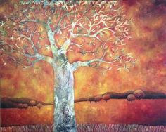 Pete  Groves - Tree On Burnt Sky  acrylic on linen    122 x 151 cm  48 x 59 in
