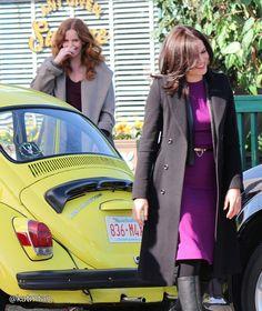Rebecca Mader & Lana Parrilla on set - March 3, 2015