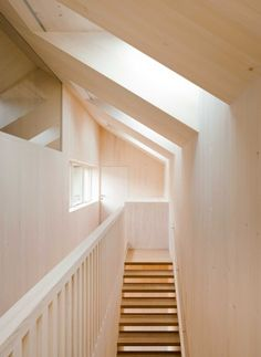 Sunlighthouse by Hein-Troy Architekten, Austria Staircase Pictures, Lead Roof, Wooden Screen, Roof Window, Passive House, Window Frames, Model Homes, Skylight, Ground Floor