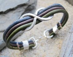 Infinity TriColor Sterling Silver - Naturally Dyed Leather Bracelet, Love, Valentine, Forever, All Sterling Silver, Handmade in Maine. $65.00, via Etsy.
