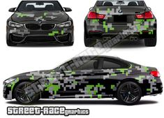 Digital camouflage part wrap shown on a BMW car Van Wrap, Digital Camo, Bmw M4, Camouflage, Wraps, Racing, Car, Prints, Running