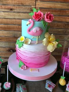The birthday cake at this Flamingo Birthday Party is absolutely stunning! - The birthday cake at this Flamingo Birthday Party is absolutely stunning! See more party ideas and - Luau Birthday Cakes, Hawaiian Birthday, Summer Birthday, Birthday Cake Girls, Birthday Cupcakes, Birthday Parties, Party Cupcakes, Hawaiian Party Cake, Birthday Ideas