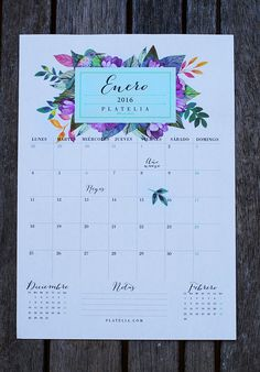 calendario 2016 / Planificador mensual para todo 2016 <3