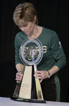 Baylor Lady Bears' Coach Kim Mulkey receives AP College Basketball Coach of the Year Award. Former Lady Techster Mulkey has won National Championships as a player, an assistant coach and a head coach and has won an Olympic gold medal (1984 Los Angeles). She goes for her second NC as head coach beginning Sunday, April 1, 2012, in the semis.