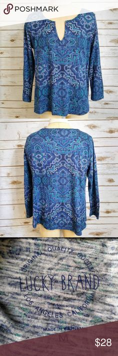 Lucky Brand Blue 3/4 Sleeve Geo Print Top Lucky Brand Blue 3/4 Sleeve Geo Print Top  Size Medium in excellent used condition. Please feel free to ask any questions or bundle with other listings in my closet for a custom discount on your order. I ship the same day as long as the order is placed before 11:00 AM Central time. If you would like to be notified about price drops remember to 'like' the item to bookmark it! Thank you for checking out my closet and happy poshing!! Lucky Brand Tops…