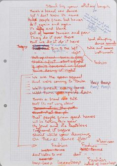 Original lyrics for Fashion by David Bowie, 1980 © The David Bowie Archive.