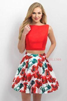 Blush Red Floral 2 Piece Dress