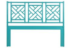 turquoise Chippendale headboard
