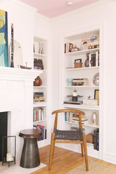 A Living/Dining Room Gets A Mid-Century Makeover - Front + Main Bookcase Shelves, Wall Shelves, Bookshelves, Shelf Inspiration, Living Room Inspiration, Berkeley House, Pink Ceiling, Mid Century Living Room, West Elm