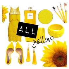 """""""all yellow"""" by cskitti on Polyvore featuring Naeem Khan, INC International Concepts, Serpui, WithChic, Mariah Rovery and Suva Beauty"""