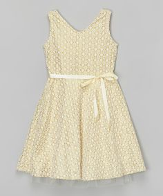 Look at this Ivory Lace Dress on #zulily today!