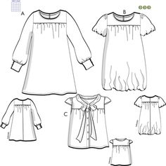 Svenska Mönster - Klänningar / tunikor Swedish Sewing, Bell Sleeves, Bell Sleeve Top, Sewing Patterns, Tunic Tops, Mandala, Artsy, Fashion, Big Sizes