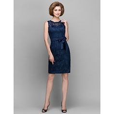 Sheath/Column+Mother+of+the+Bride+Dress+-+Dark+Navy+Knee-length+Sleeveless+Lace+–+USD+$+89.99