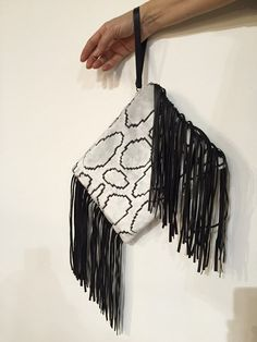 Fringes Clutch Black Leather Evening Clutch Bag by vquadroitaly