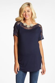 Navy-Blue-Square-Cutout-Accent-Maternity-Top
