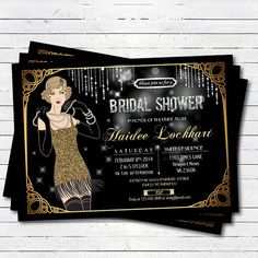 Bridal shower invitation. great gatsby flapper black by CrazyLime