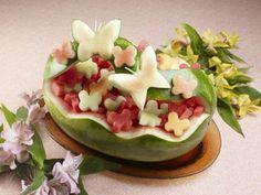 Fruit carving basket watermelon butterflies decorative