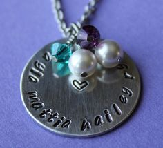 Items similar to Handstamped Personalized Mother/Grandmother Necklace with 4 Names and 4 Birthstones on Etsy Hand Stamped Necklace, Making Ideas, Birthstones, Washer Necklace, Jewerly, Names, Trending Outfits, Heart, Unique Jewelry