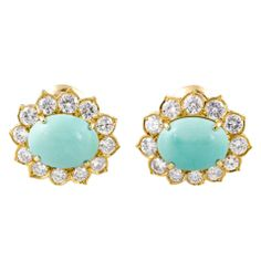 VAN CLEEF & ARPELS Diamond Turquoise Gold Earrings