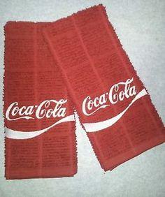 Coca Cola Logo Soda Coke Embroidered Kitchen Towel Set