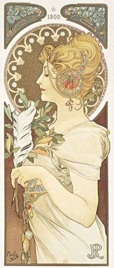 [la Plume]. [J. Royer]. 1900 | Alphonse Mucha | 1899 | National Library Of France | Public Domain