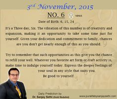 #Numerology‬ predictions for 3rd November '15 by Dr.Sanjay Sethi- Gold Medalist and World's No.1 #AstroNumerologist.