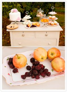 be sure to include a bowl of local fresh berries for dessert!    vintage dresser dessert setting