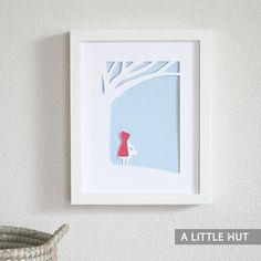 """Little red riding hood…..Use this fairy tale image for a card or frame it as modern art work. Price: $1.99 Size if cut by hand:  8"""" x 10""""  TIP! Use linen or cotton fabric as a background to add texture to the piece."""