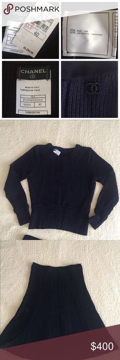 """NWT Chanel Sweater and Skirt Set - Black size 40 Classic timeless dark black Chanel sweater and skirt. Beautiful detailing on hems & cuffs, and the sweater buttons up the back. Never worn; stored folded in tissue ... I don't want to steam wrinkles in case it shrinks. Very soft cashmere silk blend. Skirt is 24"""" with slight flare. Chanel 40 but seems small to US 10: Comes with extra knit fabric, which I assume would be for repairs. I'm cleaning out my closet and have other high-end items NWT…"""